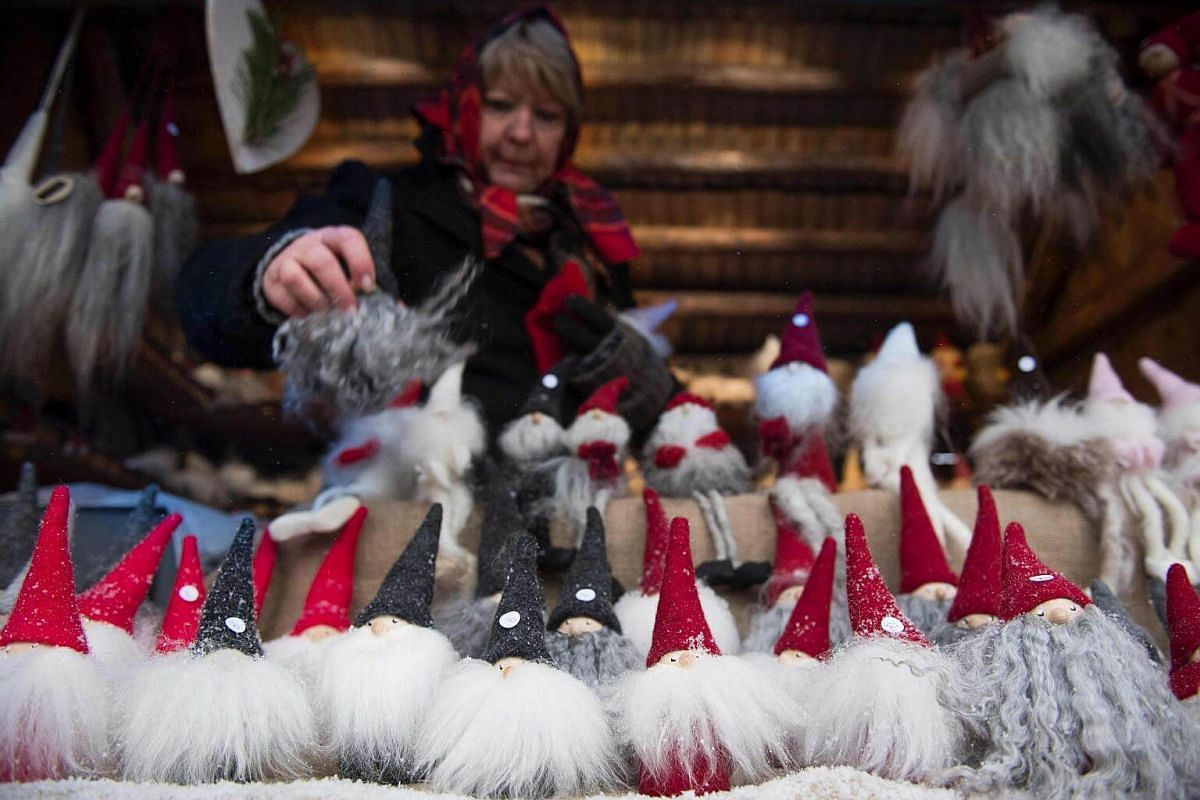 Miniature Santas on sale at the traditional Christmas market at the Skansen open air museum during Advent Sunday on Nov 27, 2016, in Stockholm, Sweden.