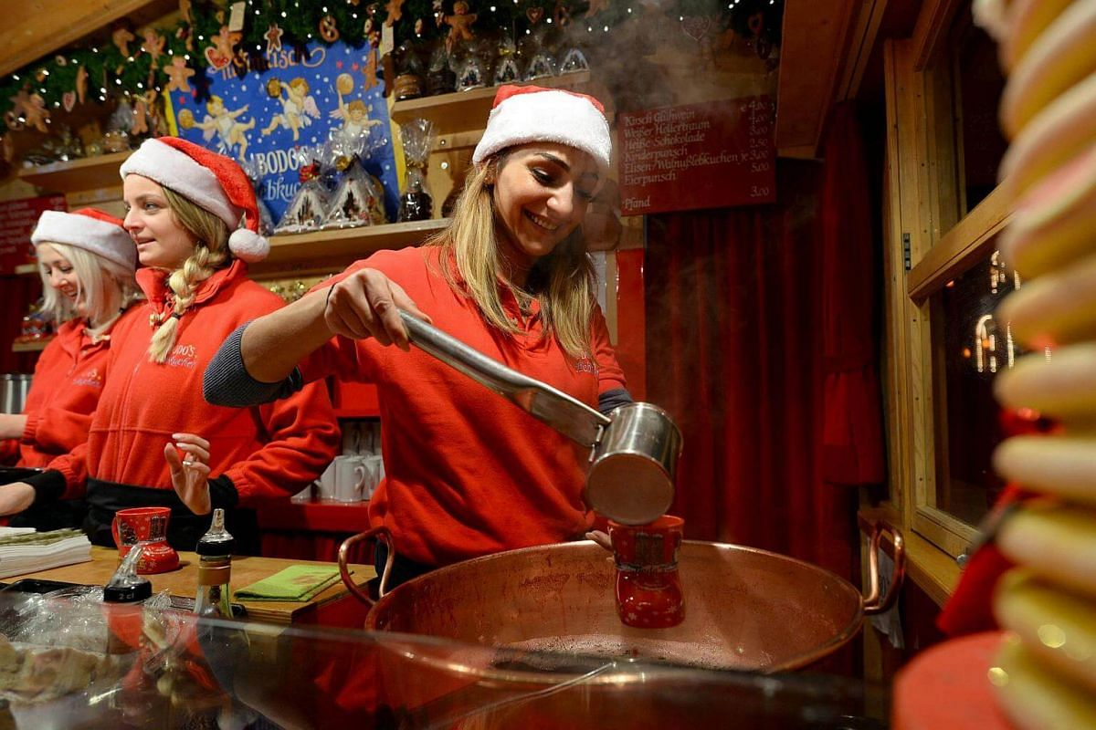 Mulled wine served at a Christmas market in Munich, Germany, on Nov 27, 2016.