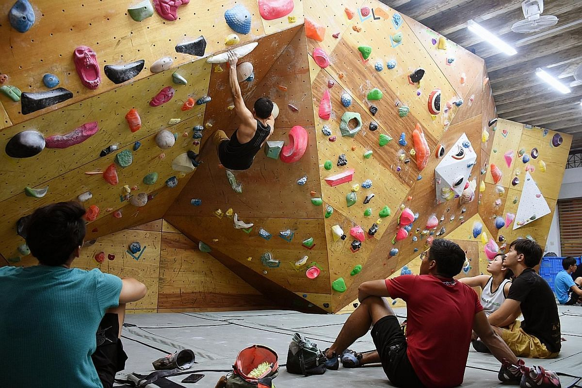 Kinetics Climbing in Serangoon Road has bouldering walls for everyone, from beginners to advanced climbers.