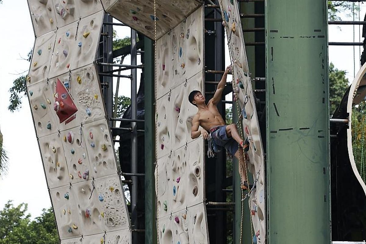 Safra Adventure Sports Centre in Yishun has outdoor sport climbing walls as well as an indoor bouldering gym.