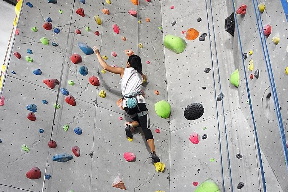 Onsight Climbing, housed in the former Singapore Badminton Hall, has top-rope (above), lead and speed walls for competitive climbers.