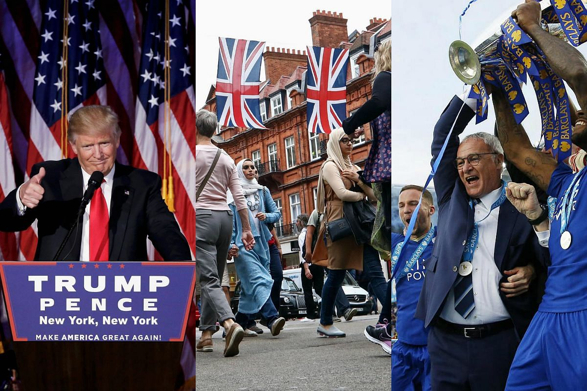 Donald Trump's election victory, Britain leaving the EU and Leicester's maiden English Premier League crown were some of the biggest shocks in 2016.