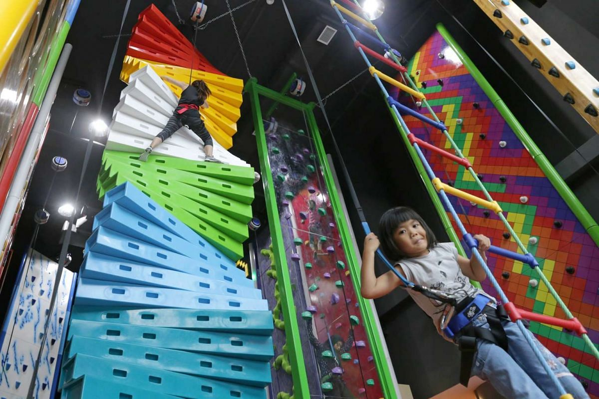 Clip 'n Climb from New Zealand, which opened last month in Tampines, has 17 unusual wall designs and no minimum age for climbers.