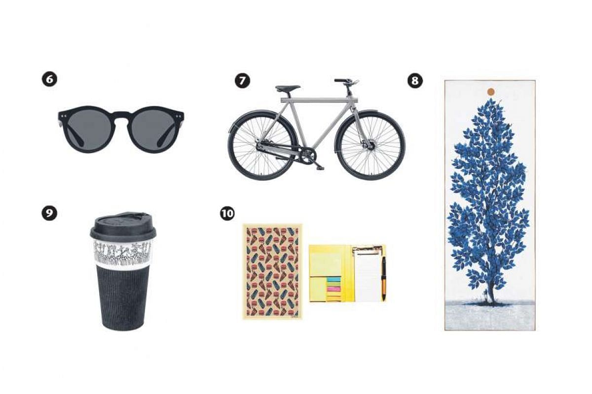 6) Creys Sunglasses; 7) S3 Bicycle;  8) Mat Towel in Vitality Print; 9) Giraffes Thermal Mug and 10) 3-in-1 Handy Notebook.