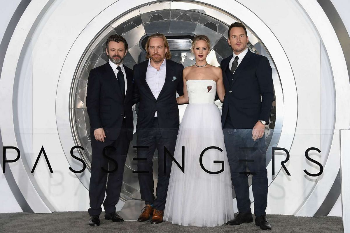 From left: actor Michael Sheen, director Morten Tyldum, actress Jennifer Lawrence and actor Chris Pratt at the Passengers premiere in Westwood, California, on Dec 14, 2016.