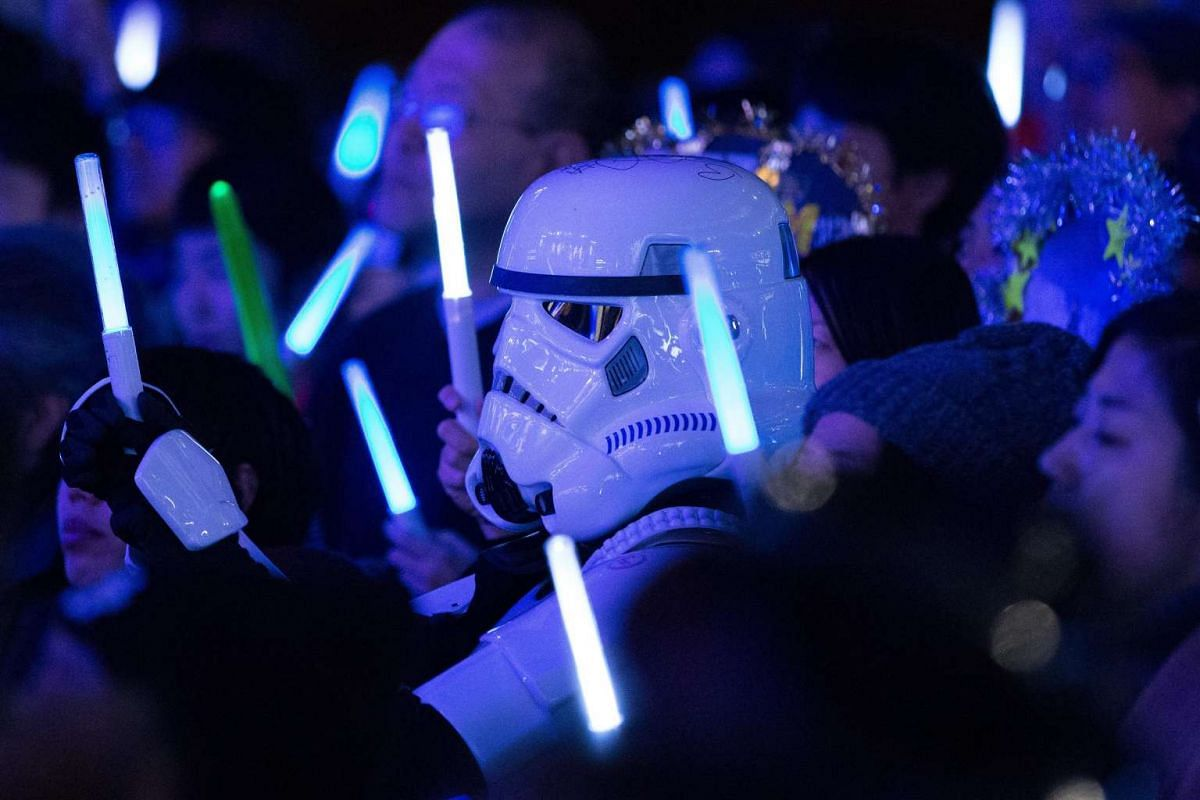 At least one fan had enough time to put on a Stormtrooper helmet for the premiere of Rogue One: A Star Wars Story in Tokyo on Dec 8, 2016. The film opens across Japan on Dec 16, 2016.
