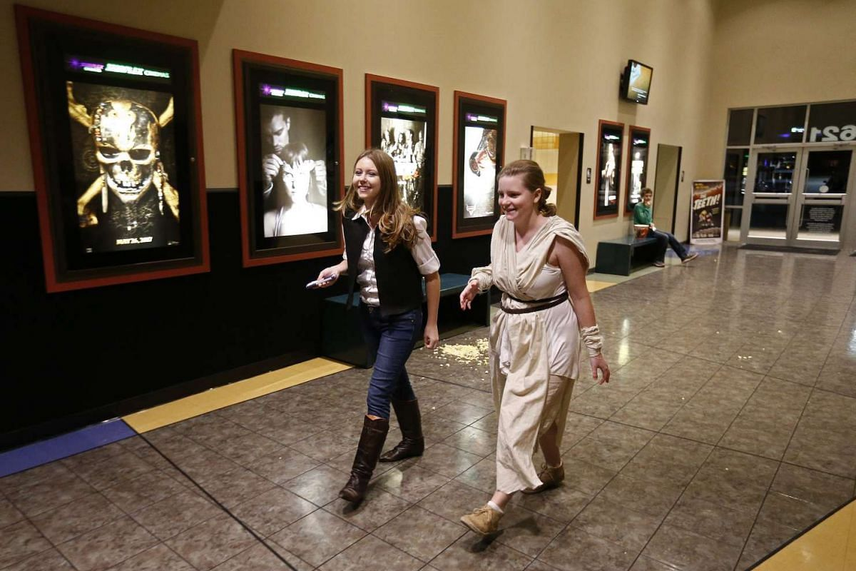 Moviegoers arriving at the Trans Texas Theater in the US on Dec 15, 2016, for the opening of Rogue One: A Star Wars Story.