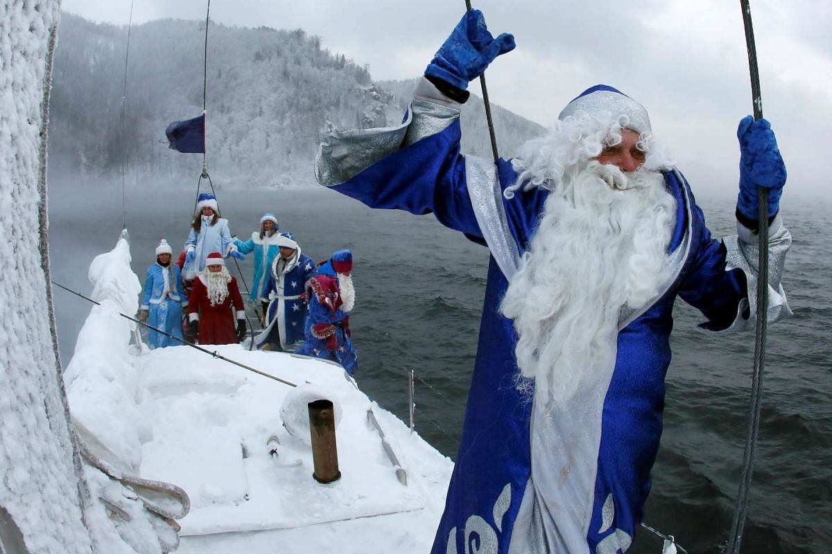 In Russia, Santa Claus is known as Ded Moroz, and dresses in blue instead. Here, members of a yacht club sail down the Yenisei River in temperatures of about minus 21 deg Celsius on Nov 25, 2016.