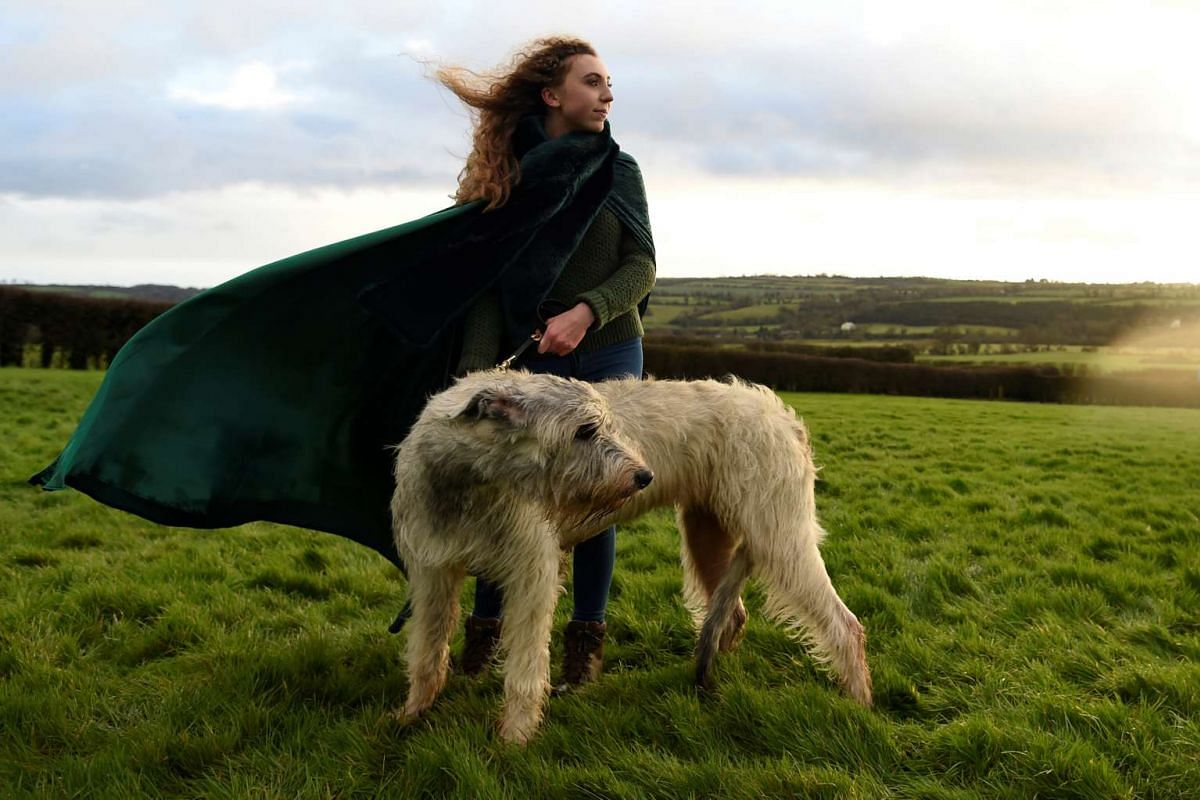 Rebecca Smith poses for a photograph during winter solstice with her Irish Wolfhound dog called Amazing Grace at the 5000 year old stone age tomb of Newgrange (not in view) in the Boyne Valley at sunrise in Newgrange, Ireland, December 21, 2016. PHOT