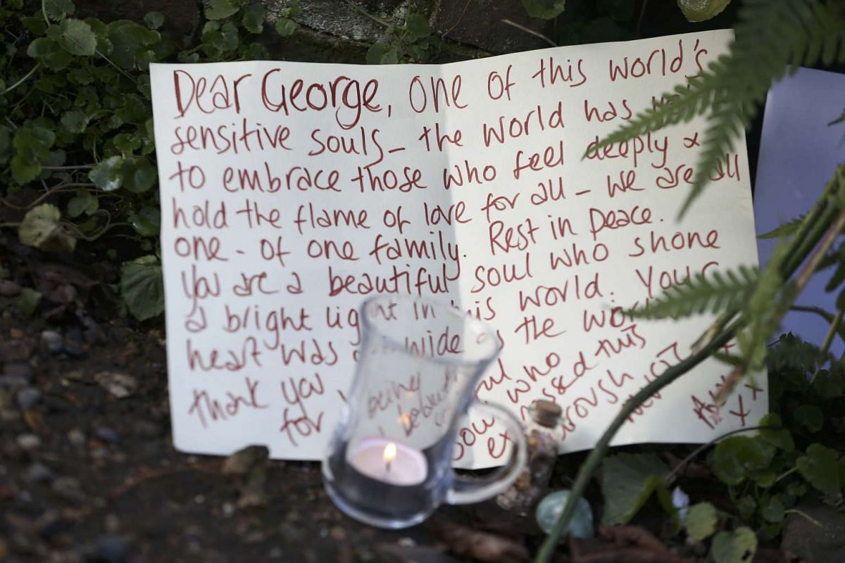 Tributes outside the house of singer George Michael, in north London, Britain on Dec 26, 2016.