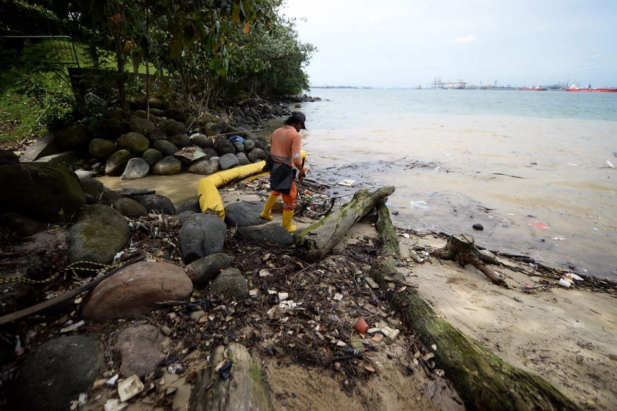 Cleaners clearing up the oil that washed ashore at Punggol Beach on Jan 5, 2017.
