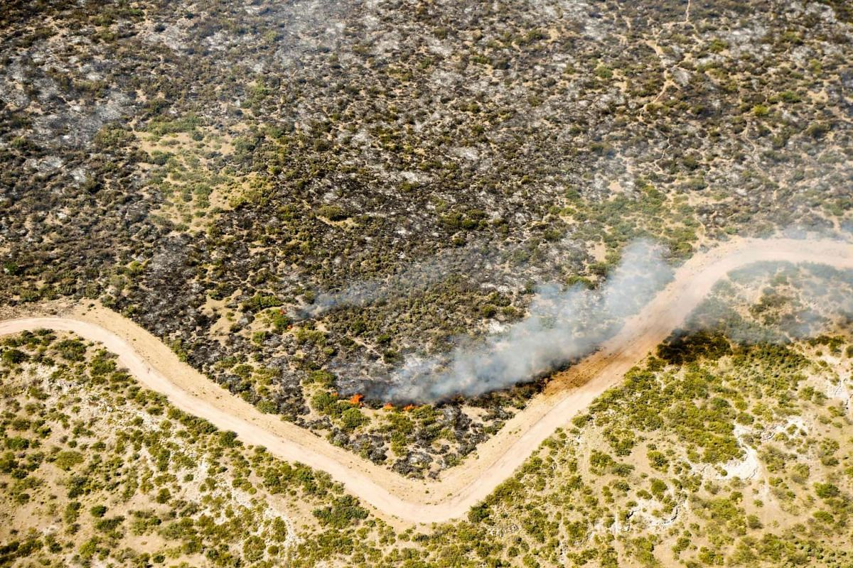 Aerial view of a wildfire in La Adela, Argentina, on Jan 5, 2016.