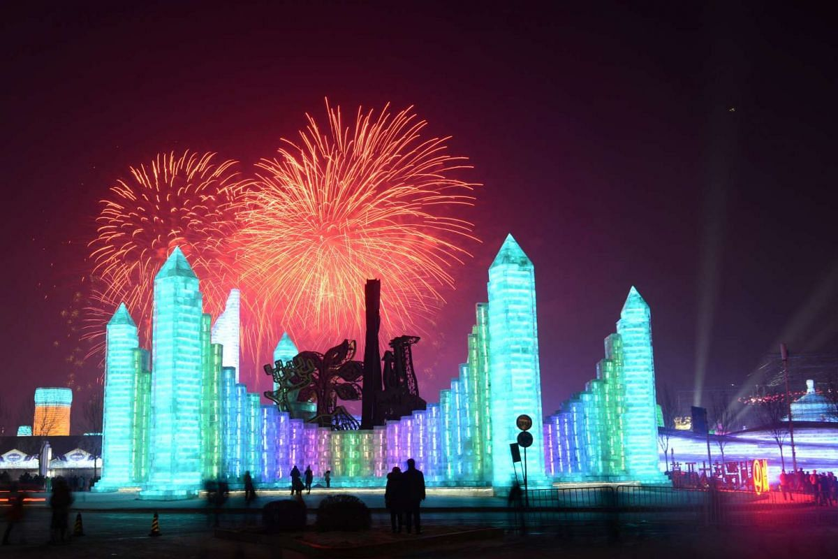 Fireworks explode over ice sculptures as the Harbin International Ice and Snow Sculpture Festival officially kicks off in Harbin, China, on Jan 5, 2017.