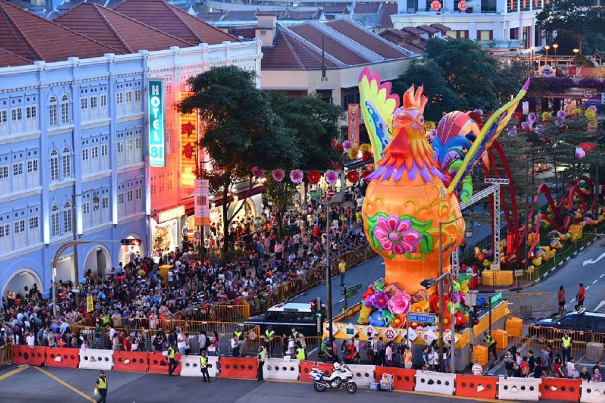 5,500 handcrafted lanterns, along with a 13m-tall rooster with outspread wings, have been installed in Chinatown to welcome the coming Year of the Rooster.