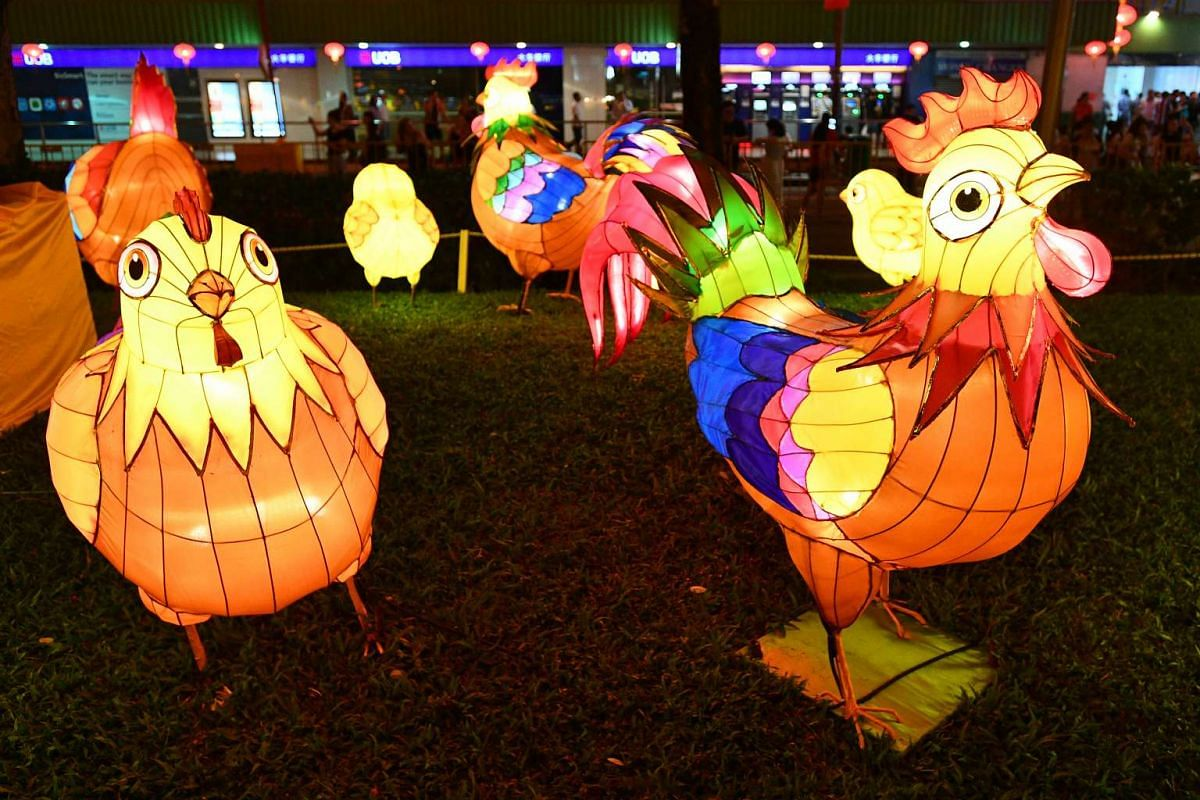 About 5,500 handcrafted lanterns, including a 13m-tall rooster with outspread wings, have been installed in Chinatown to welcome the coming Year of the Rooster.