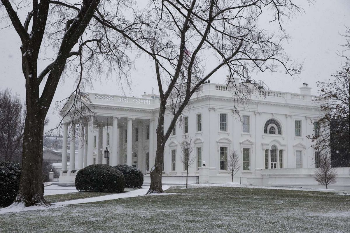 The White House in Washington DC with a fresh dusting of snow.