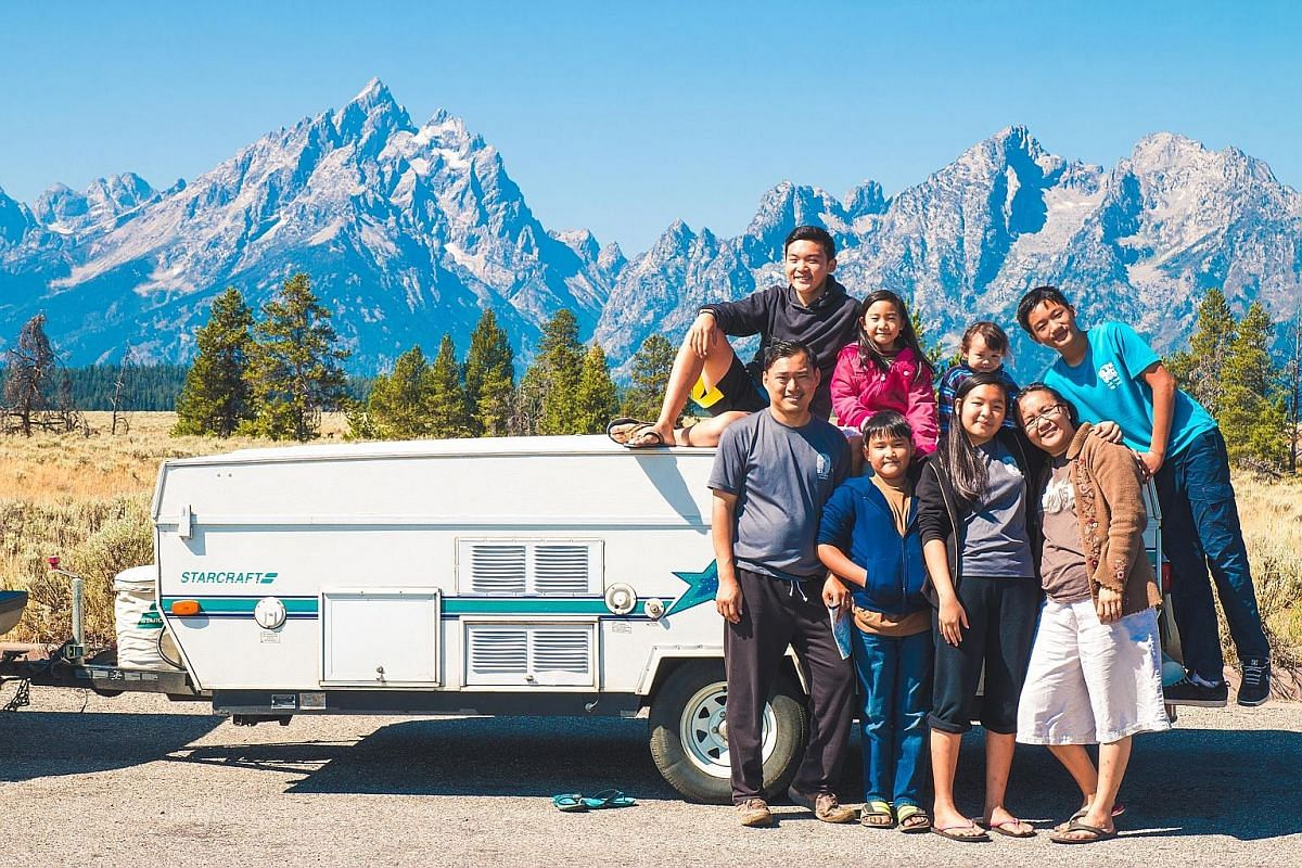 The Ong family - (front row, from left) Mr Dan Ong, Isaiah, Abigail, Mrs Sue Ong, (back row, from left) Asher, Magdalena, Michaela and Isaac - at Grand Teton National Park in Wyoming.