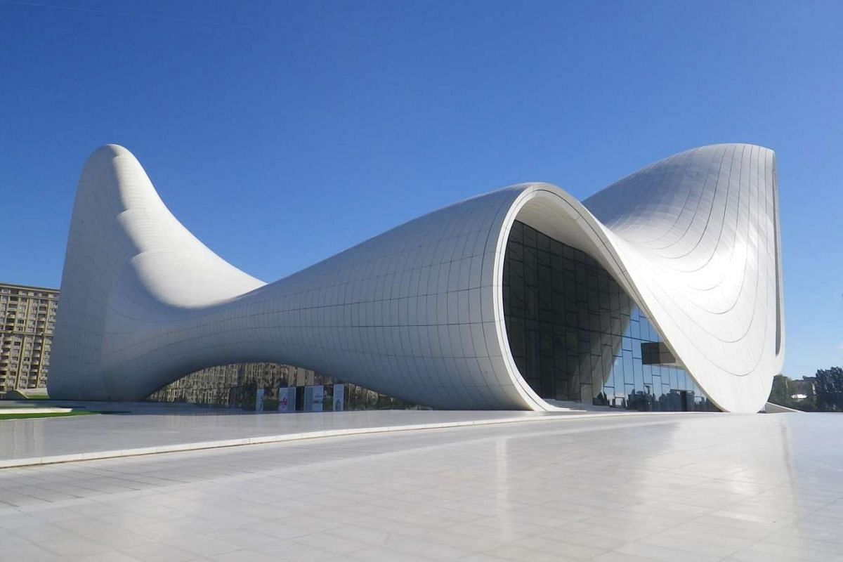 The futuristic Heydar Aliyev Center, designed by the late architect Zaha Hadid, houses a museum and a 1,000-seat auditorium.