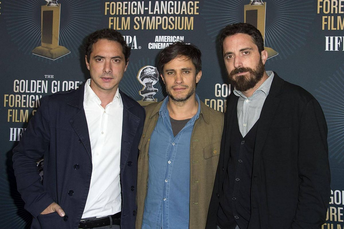 (From left) Producer Juan Dios Larrain, actor Gael Garcia Bernal and director Pablo Larrain attend the Golden Globe Foreign Language Film Symposium, presented by The Hollywood Foreign Press Association & The American Cinematheque in Hollywood, Califo
