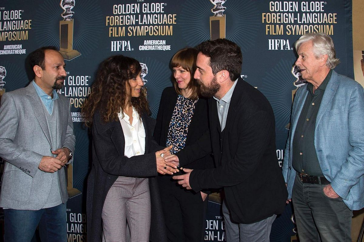 (From right) Directors Asghar Farhadi, Houda Benyamina, Maren Ade, Pablo Larrain and Paul Verhoeven attend the Golden Globe Foreign Language Film Symposium, presented by The Hollywood Foreign Press Association & The American Cinematheque in Hollywood