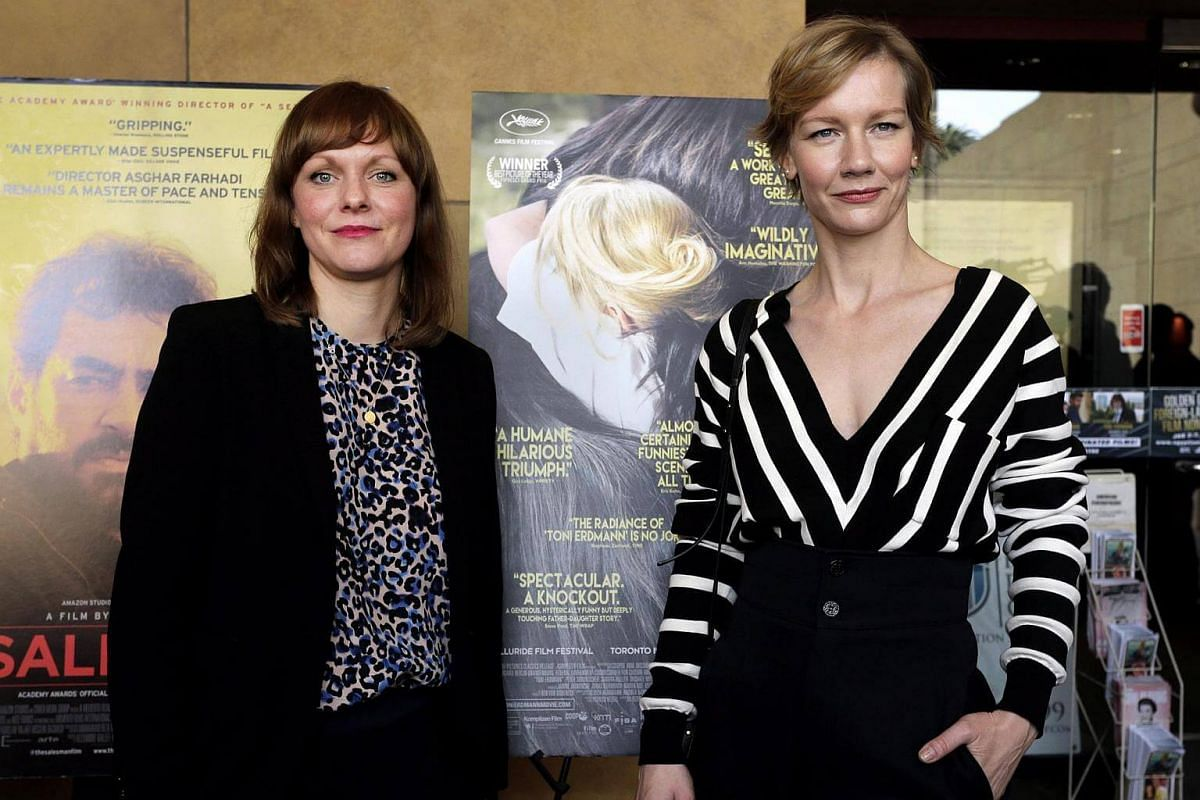 German director Maren Ade (left) and German actress Sandra Hueller (right) arrive for the photo-op at the Golden Globes Foreign Language Nominees Symposium in the forecourt of the Egyptian Theatre in Hollywood, California, US, on Jan 7, 2017.