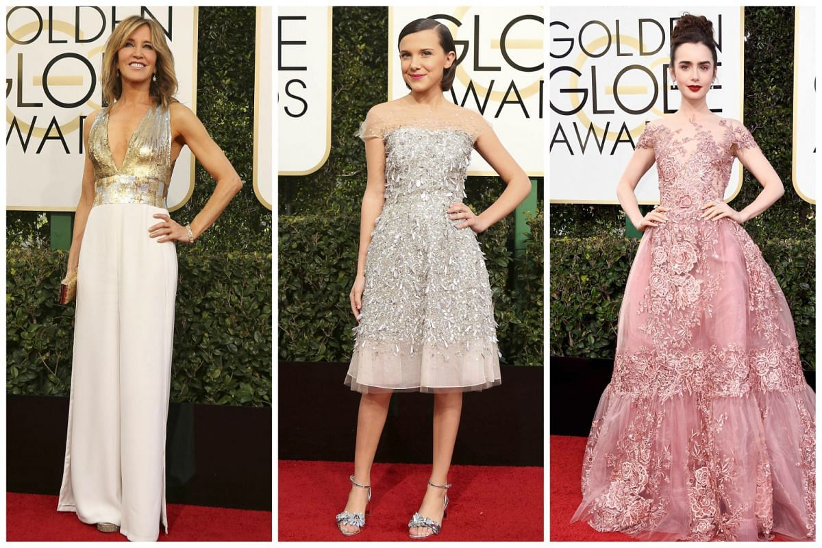 (From left) Felicity Huffman, Millie Bobby Brown and Lily Collins.