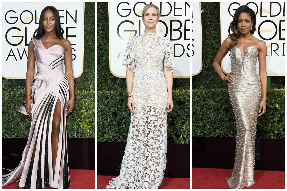 (From left) Naomi Campbell, Kristen Wiig and Naomie Harris.