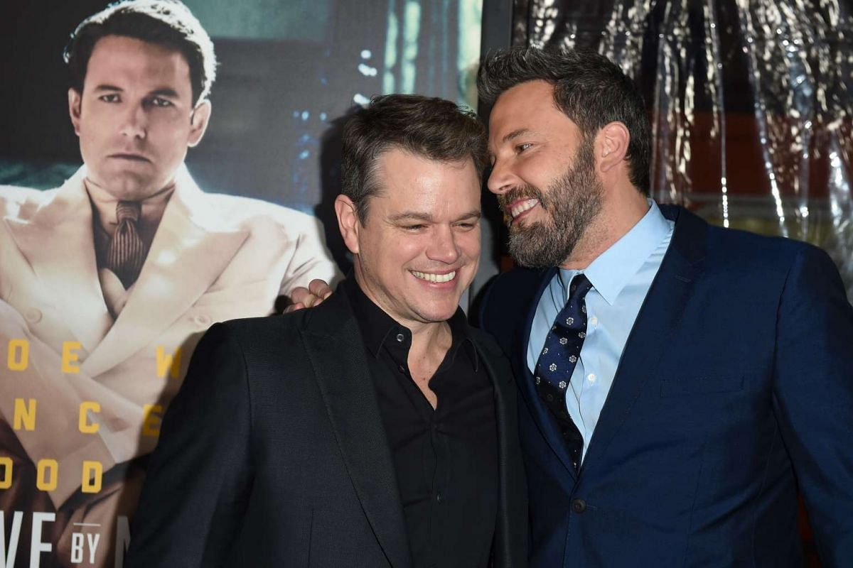 Actors Matt Damon (left) and Ben Affleck at the world premiere of Live By Night in Hollywood, California, on Jan 9, 2017.