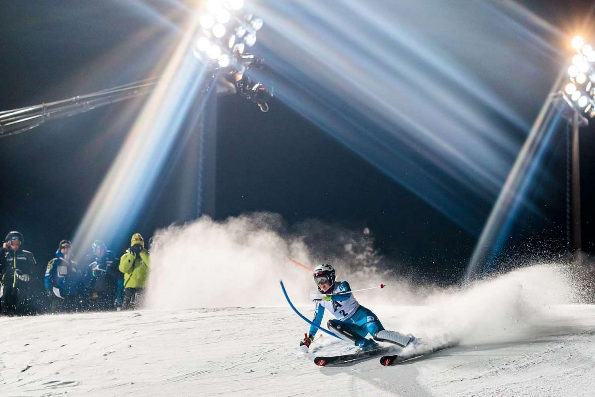 Nina Loeseth of Norway in action during the first run at ladies world cup slalom Flachau, on January 10, 2017. PHOTO: AFP