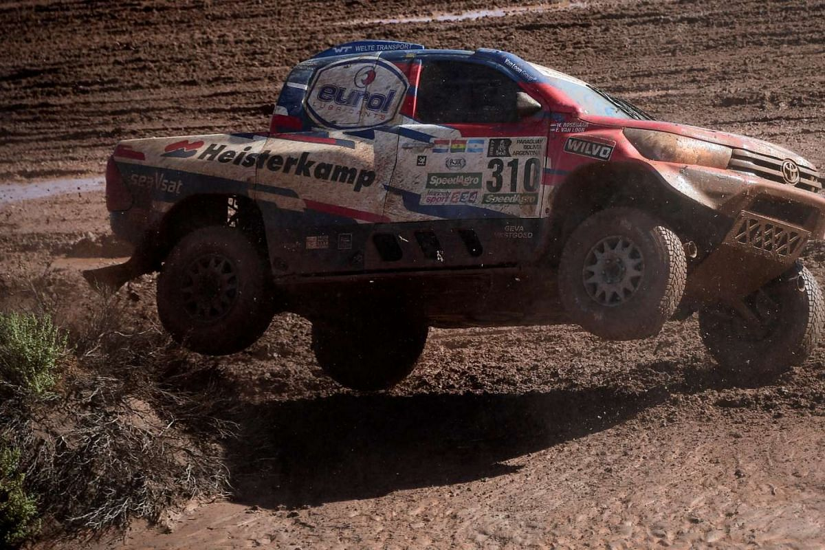 Toyota's driver Erik Van Loon and co-driver Wouter Rosegaar of the Netherlands in action.