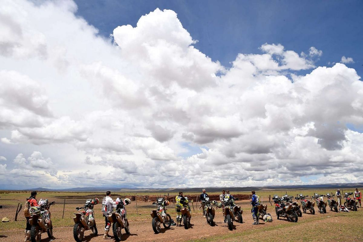 Bikers at Stage 8 of the Dakar Rally between Uyuni in Bolivia and Salta in Argentina, on Jan 10, 2017.