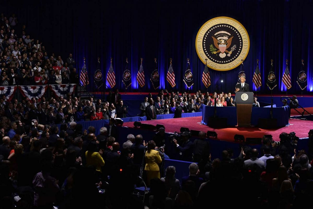 US President Barack Obama delivers his farewell address in Chicago, Illinois on Jan 10, 2017.