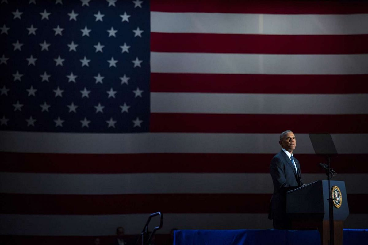 US President Barack Obama speaks to supporters during his farewell speech at McCormick Place in Chicago, Illinois on Jan 10, 2017.