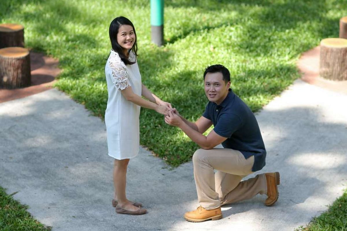 Mr Steve Tan proposed to his then- girlfriend Michelle Tan (above) with a $3,500 ring featuring a pale green tourmaline with a gold band.