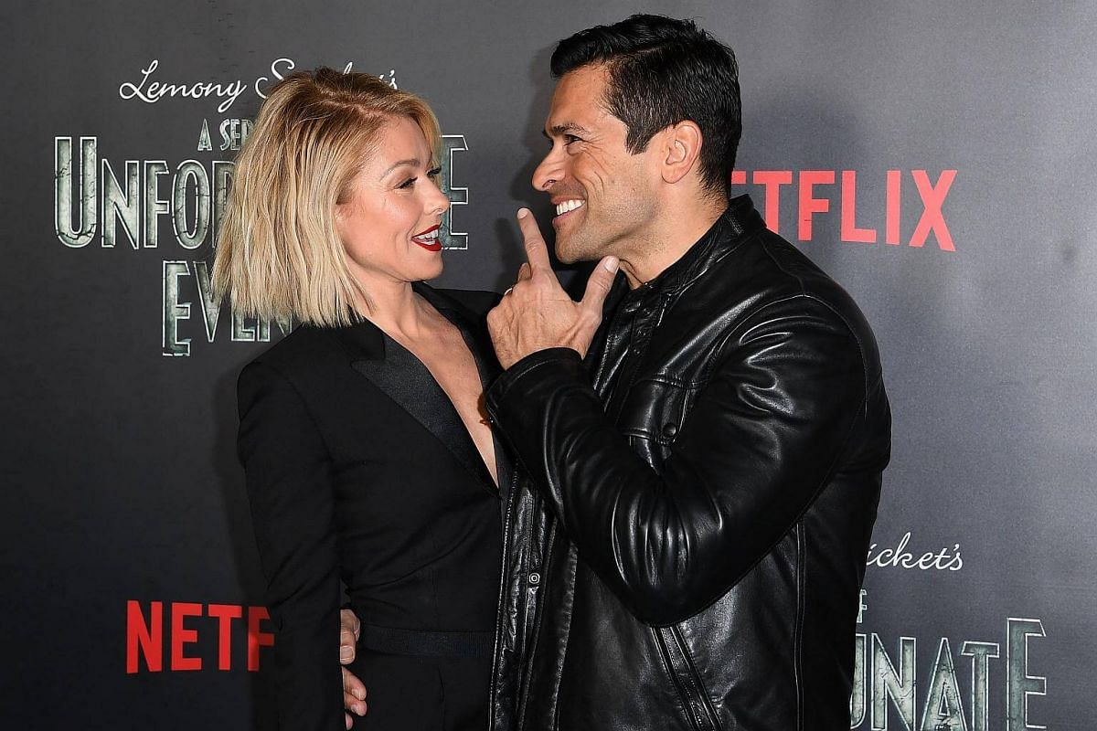 TV host Kelly Ripa and actor Mark Consuelos attending the premiere of Netflix's A Series Of Unfortunate Events at AMC Lincoln Square Theater on Jan 11, 2017, in New York.
