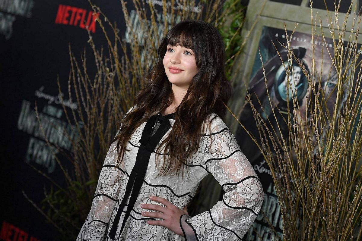 Actress Malina Weissman, who plays Violet, one of the Baudelaire siblings, attending the premiere of Netflix's A Series Of Unfortunate Events at AMC Lincoln Square Theater on Jan 11, 2017, in New York.