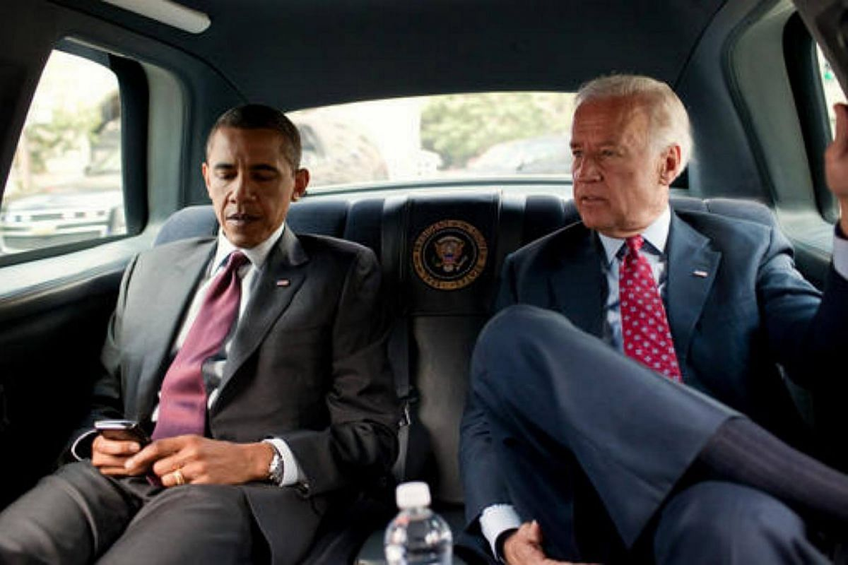 President Barack Obama and  Vice-President  Joe Biden riding in the motorcade from the White House to the Ronald Reagan Building in Washington, on July 21, 2010.