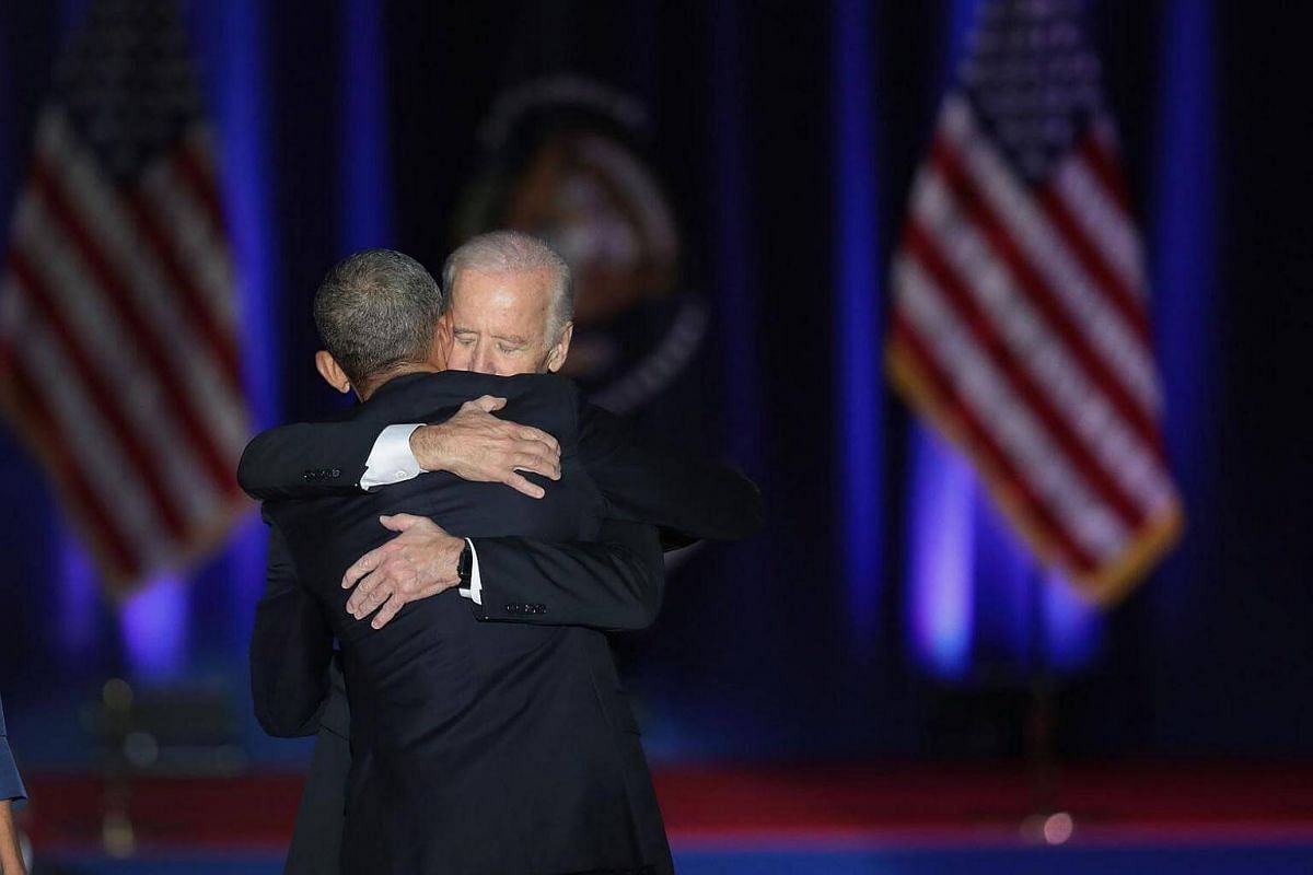 President Barack Obama embracing  Vice-President  Joe Biden after Obama delivered his farewell speech to the nation on Jan 10, 2017 in Chicago, Illinois.
