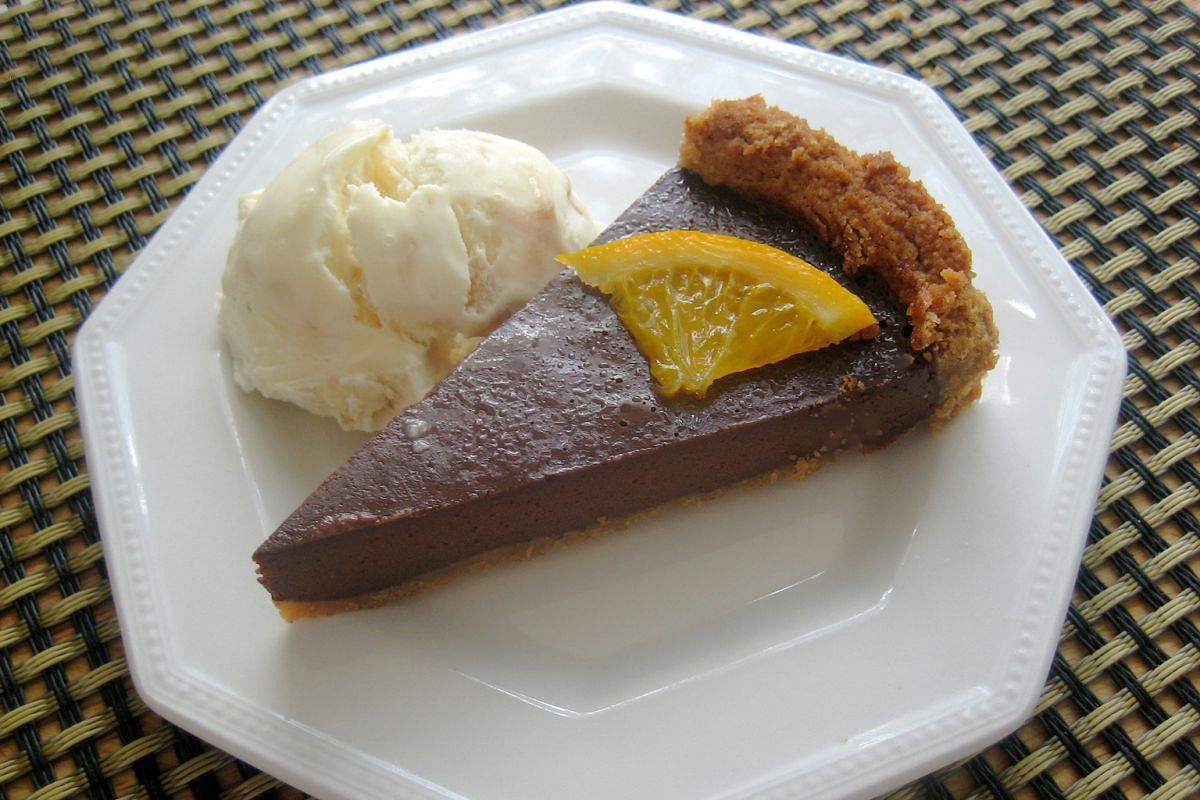 The addition of strong black coffee gives extra flavour to the chocolate tart.