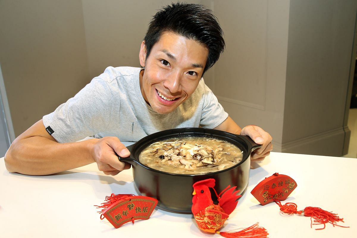 Shredding chicken meat by hand makes for finer, more tender meat, says host-actor Ben Yeo, who makes a chicken, crab and mushroom soup for Chinese New Year.
