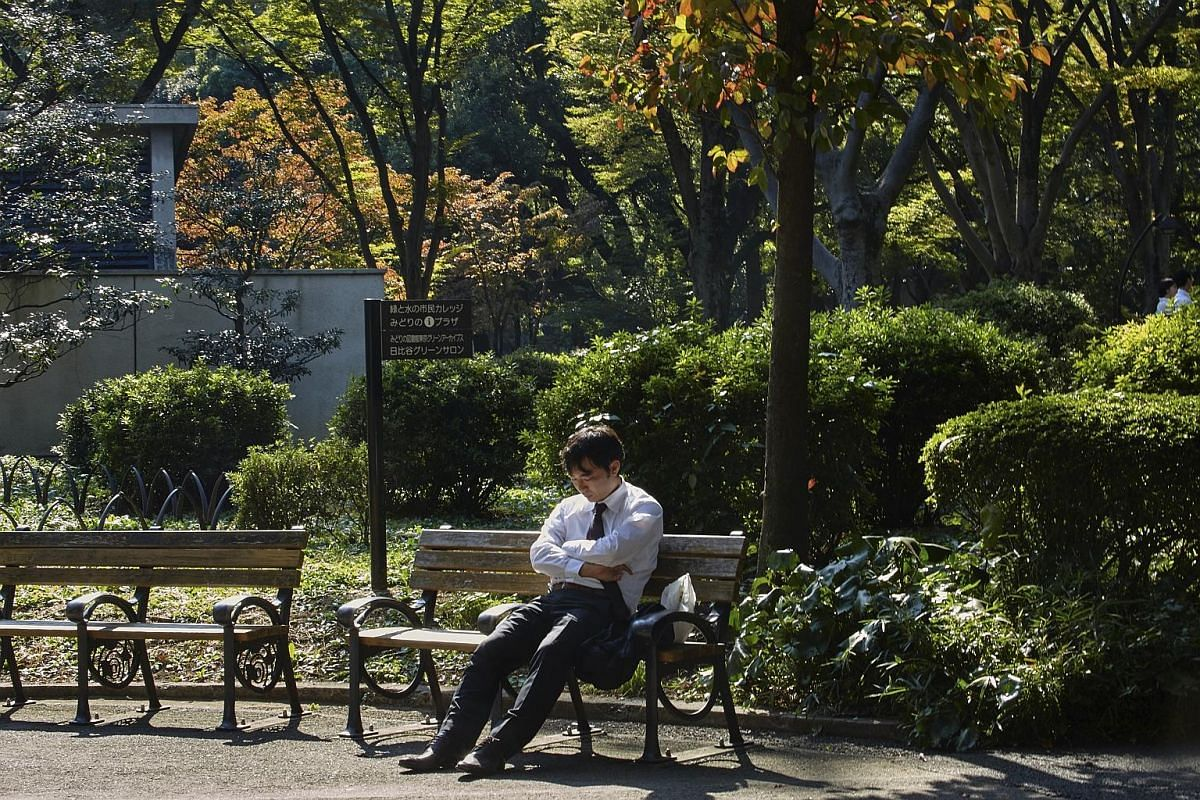 Naps in public are a common sight in Japan.