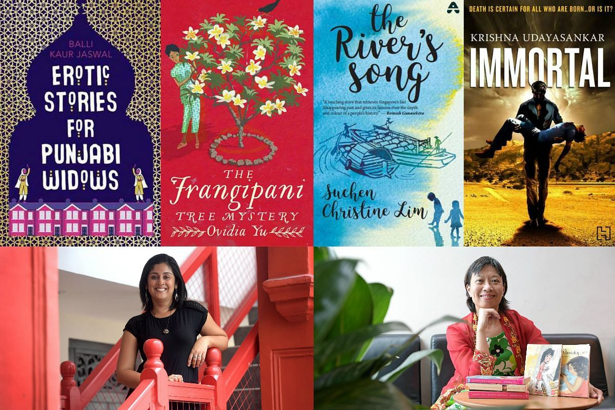 New Singapore books to be published overseas include (from left) Erotic Stories For Punjabi Widows by Balli Kaur Jaswal (bottom left) and The Frangipani Tree Mystery by Ovidia Yu (bottom right), while Suchen Christine Lim's 2013 book The River's