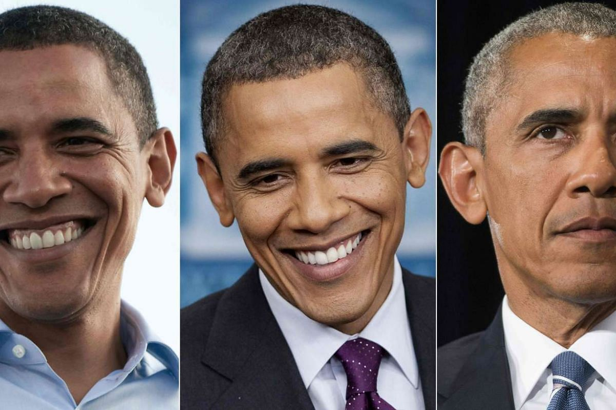 (From left) US President Barack Obama is seen during his first campaign on Aug 30, 2008, at the White House in Washington, DC on March 6, 2012 and during a press conference on Sept 5, 2016.