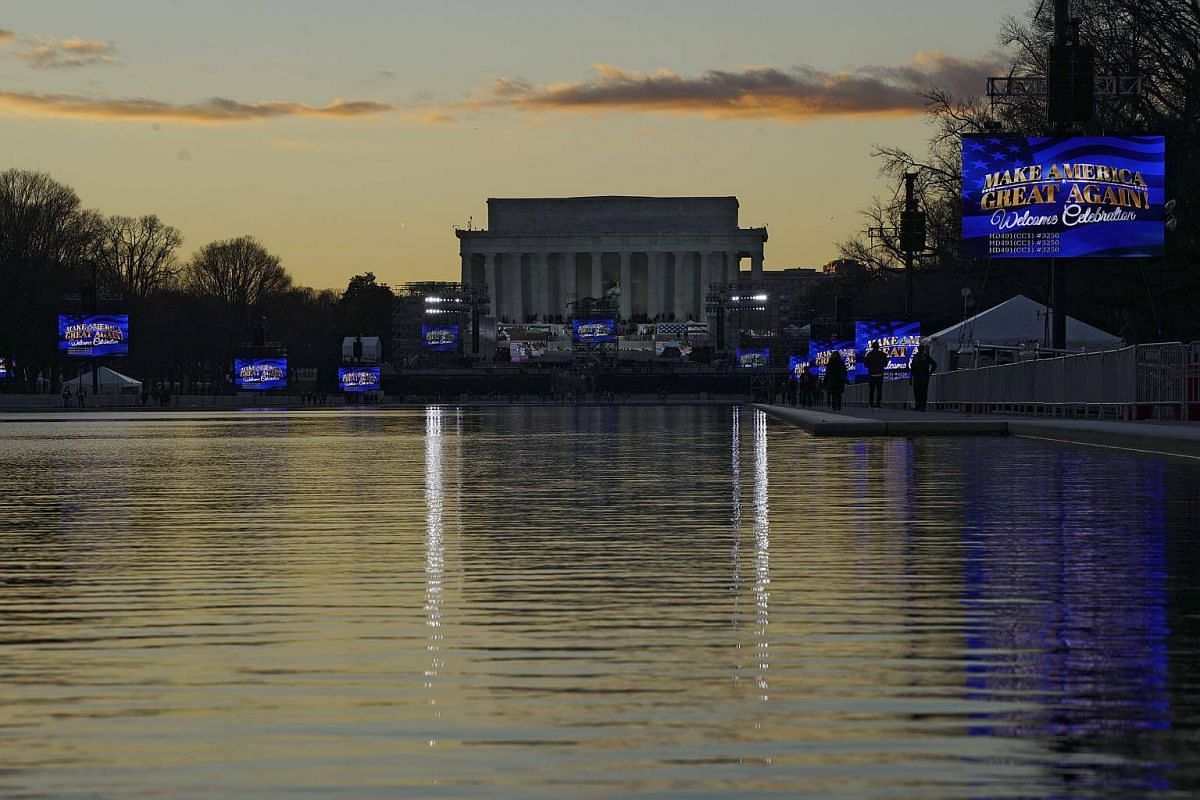 Large video screens in place for President-elect Donald Trump's inauguration around the Lincoln Memorial Reflecting Pool, with the memorial itself at one end, in Washington, on Jan 18, 2017.