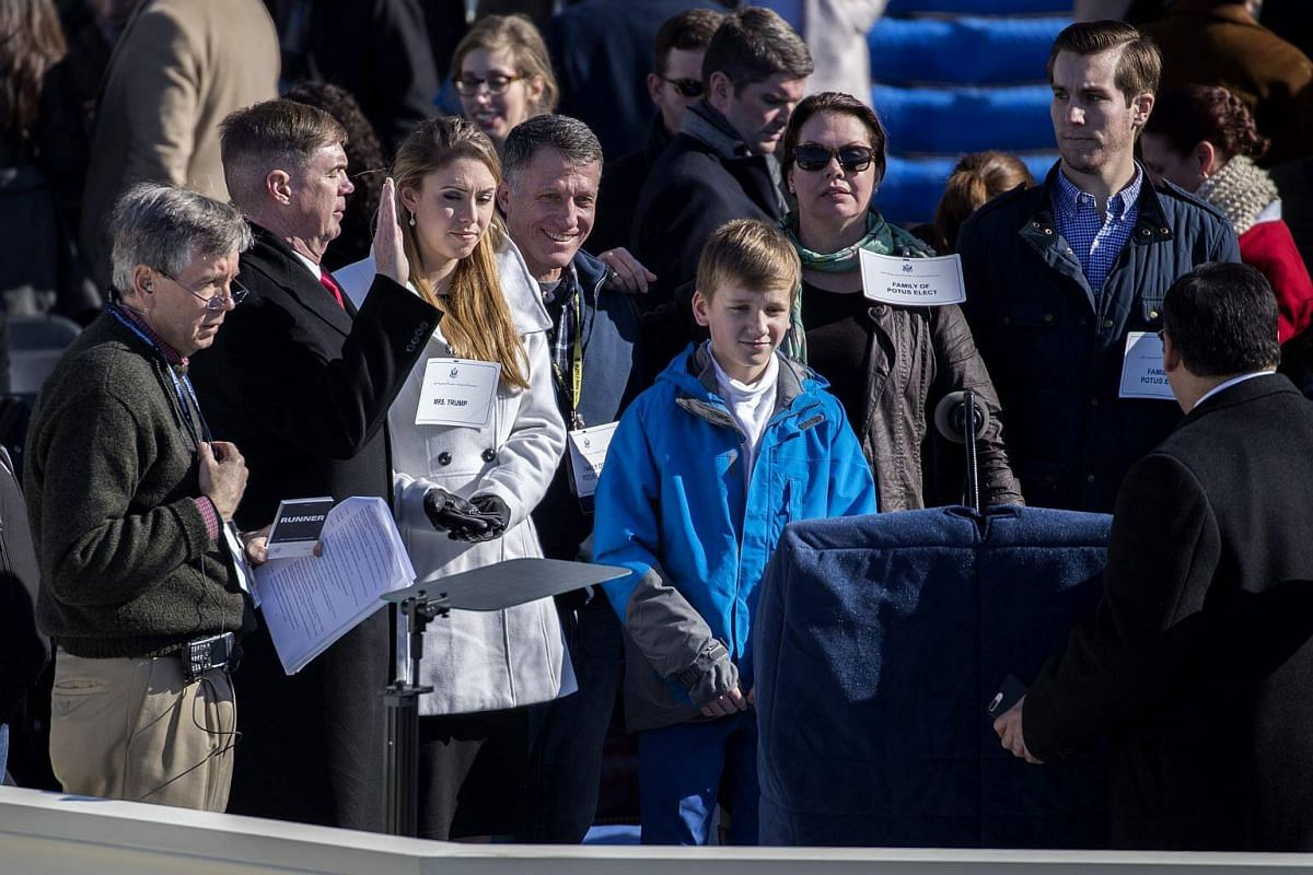 Stand in for President-elect Donald Trump Army Sergeant Major Greg Lowery (second from left) and stand in for Melania Trump Army Specialist Sara Correy (third from left) during the dress rehearsal for President-elect Trump's inauguration at the US Ca