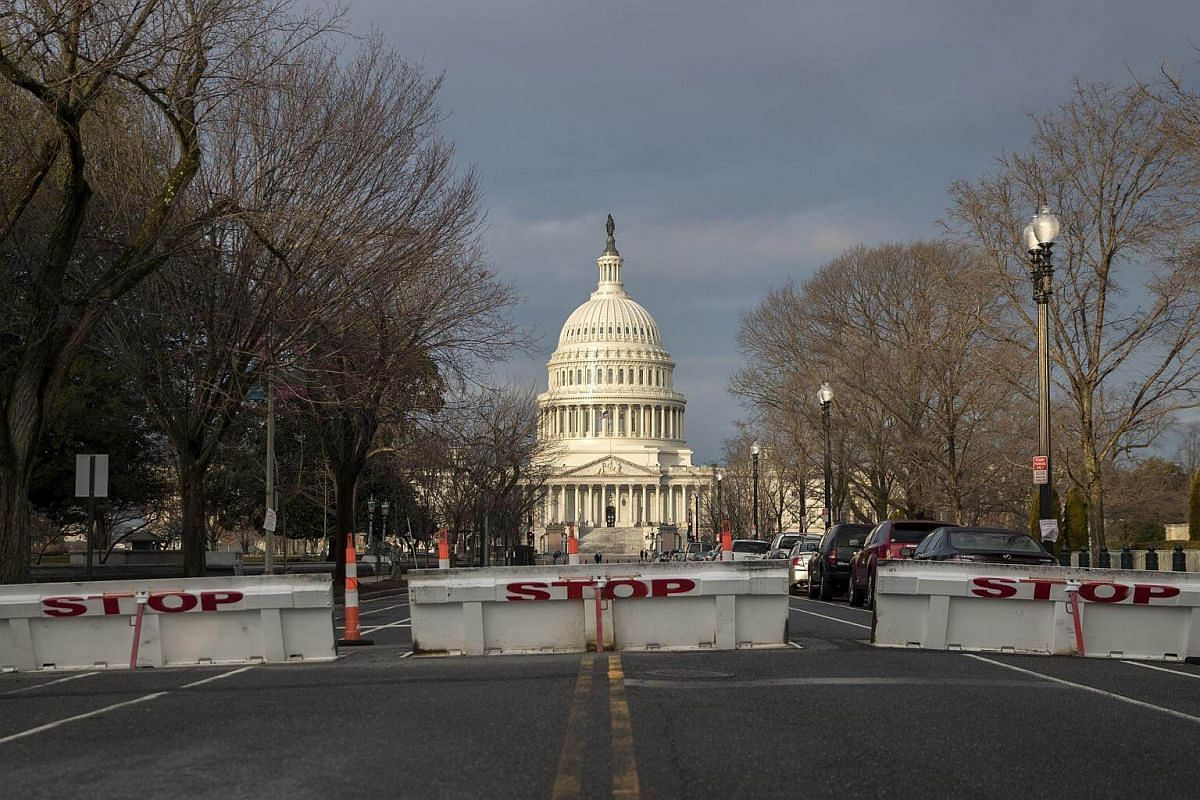 Security barriers are up around the US Capitol in advance of President-elect Donald Trump's inauguration in Washington, DC, on Jan 18, 2017.