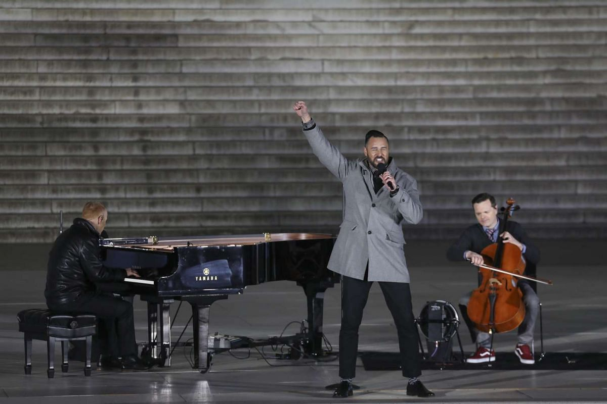 The Piano Guys perform at the Lincoln Memorial during an inaugural concert and show on the eve of President-elect Donald Trump's inauguration in Washington, on Jan 19, 2017.