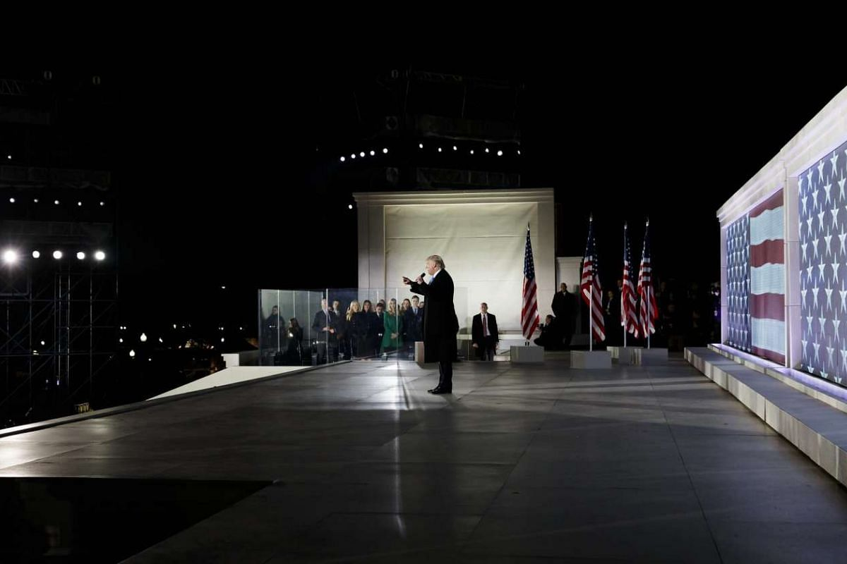 US President-elect Donald Trump speaks on a stage at the Lincoln Memorial a day before swearing in as the 45th President of the United States in Washington, on Jan 19, 2017.