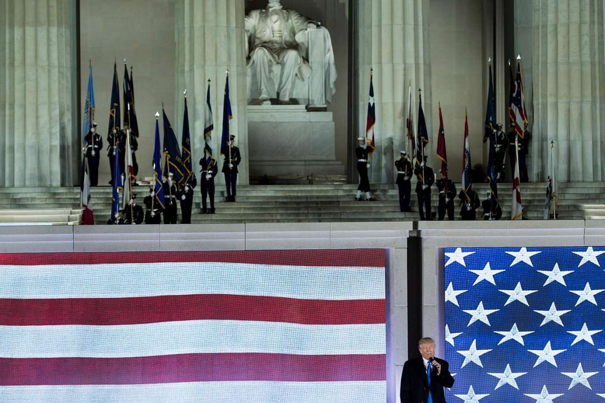 US President-elect Donald Trump speaks during a welcome celebration at the Lincoln Memorial in Washington, on Jan 19, 2017.