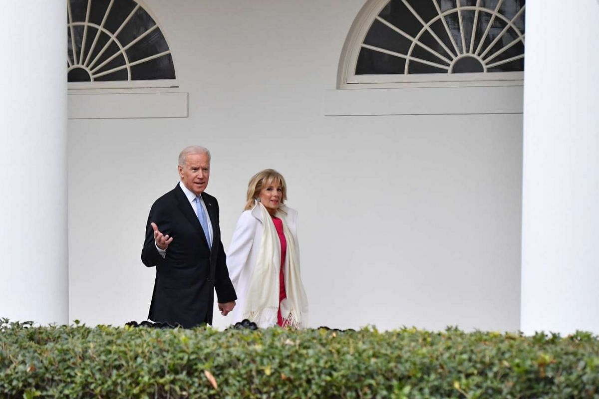 US Vice President Joe Biden and his wife Dr. Jill Biden leave the White House for the final time on Jan 20, 2017.